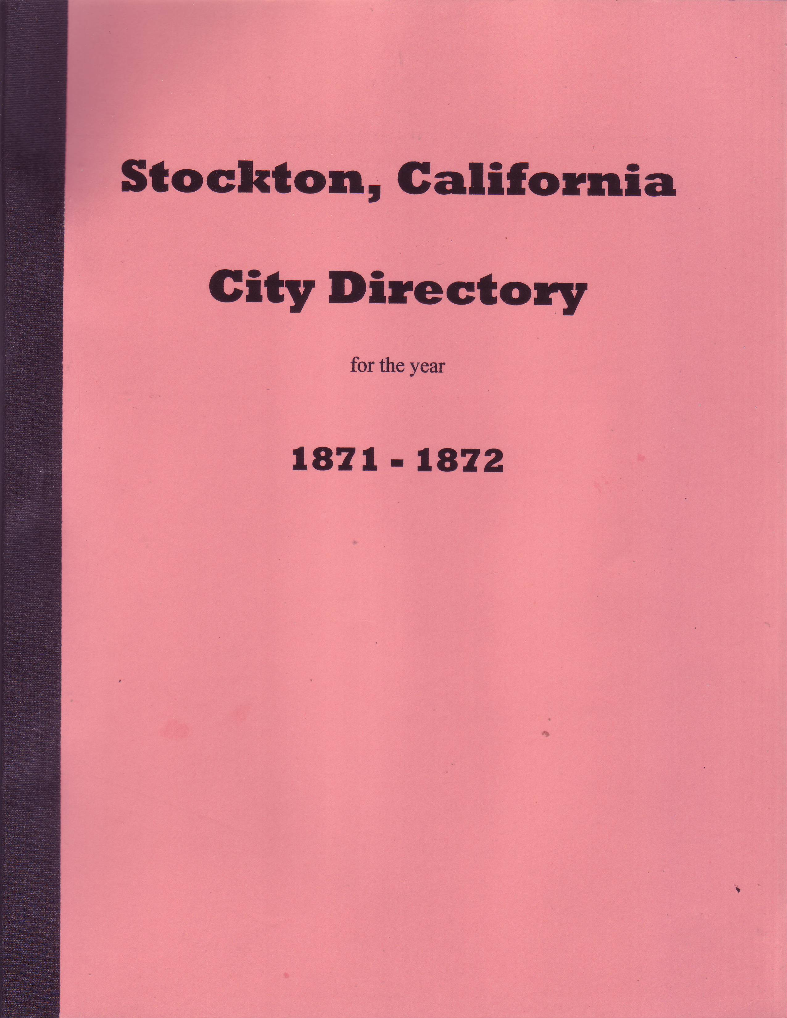 Stockton, California City Directory 1871-1872