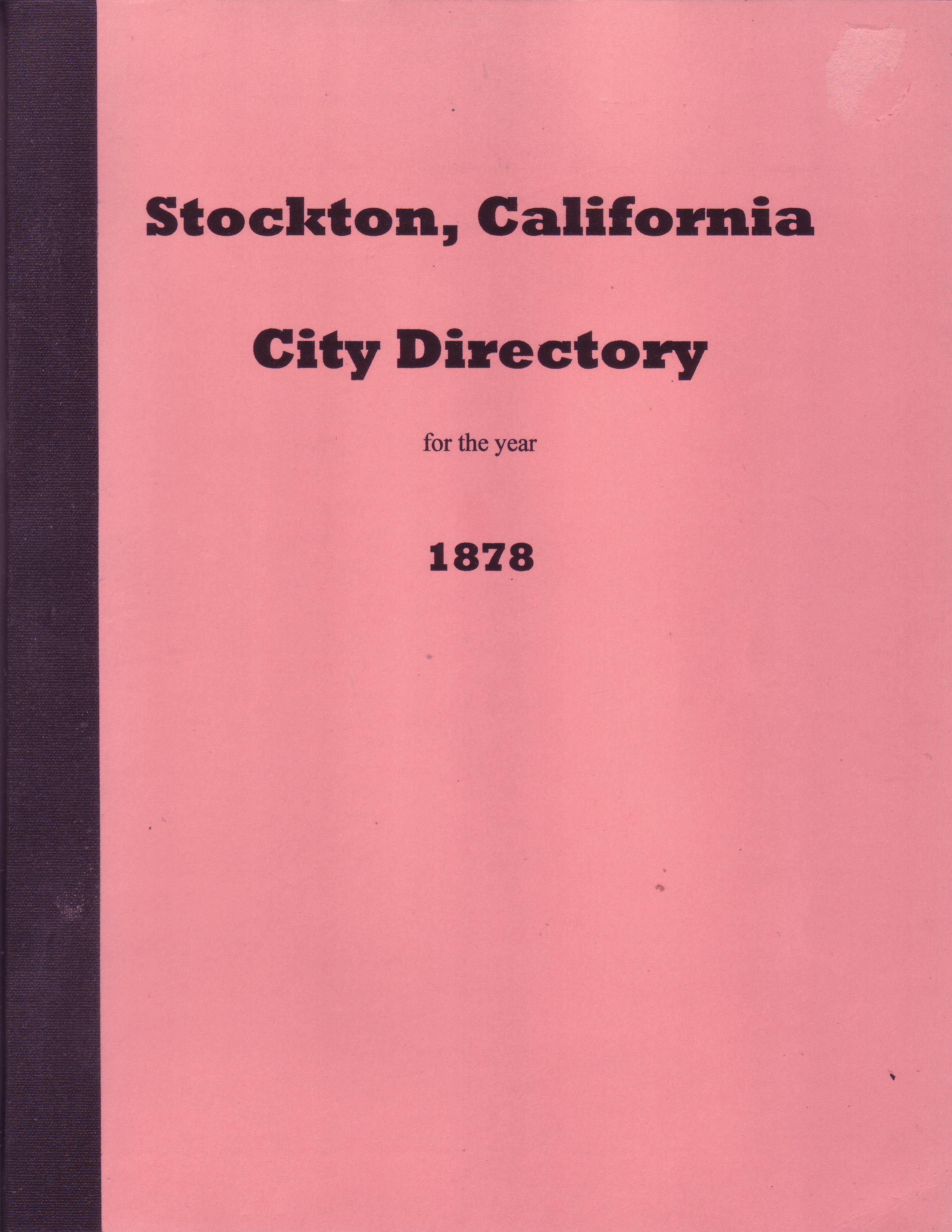 Stockton, California City Directory 1878